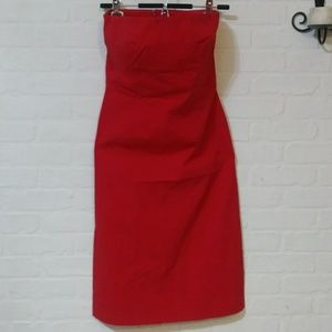 The Limited stretch strapless red dress - size 8